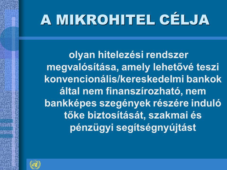A MIKROHITEL CÉLJA olyan hitelezési rendszer megvalósítása, amely lehetővé teszi konvencionális/kereskedelmi bankok által nem finanszírozható, nem bankképes szegények részére induló tőke biztosítását, szakmai és pénzügyi segítségnyújtást