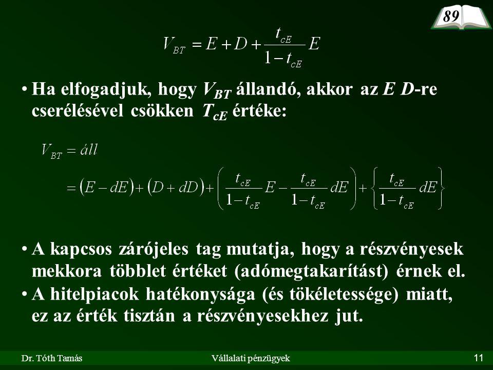 Dr. Tóth TamásVállalati pénzügyek11 Ha elfogadjuk, hogy V BT állandó, akkor az E D-re cserélésével csökken T cE értéke: A kapcsos zárójeles tag mutatj