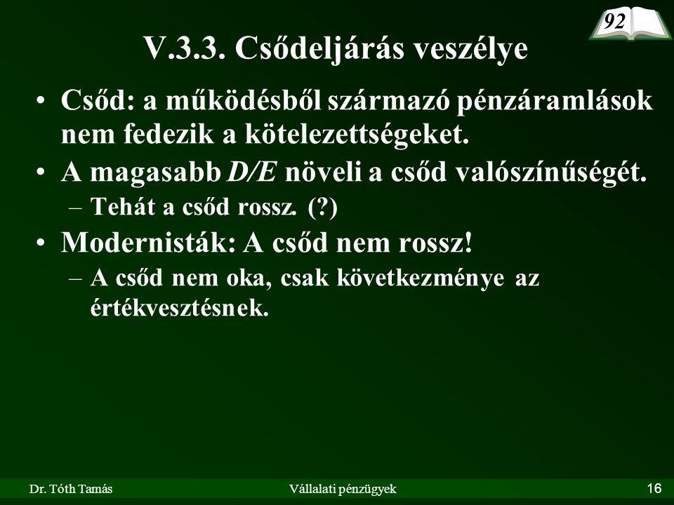 Dr. Tóth TamásVállalati pénzügyek16 V.3.3.