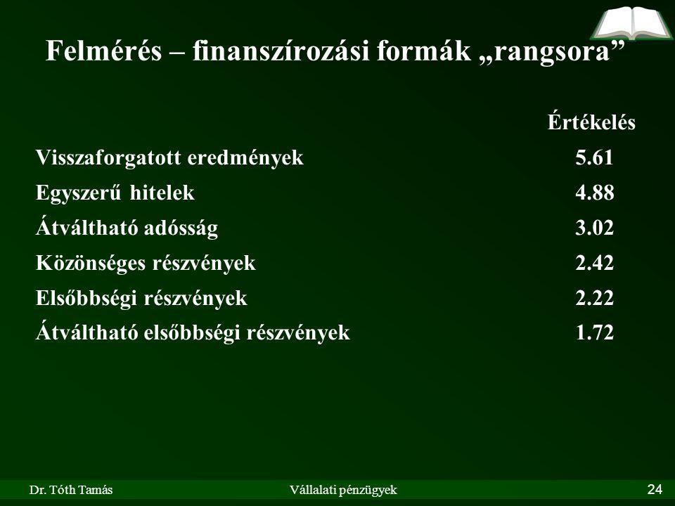 """Dr. Tóth TamásVállalati pénzügyek24 Felmérés – finanszírozási formák """"rangsora"""" Értékelés Visszaforgatott eredmények5.61 Egyszerű hitelek4.88 Átváltha"""