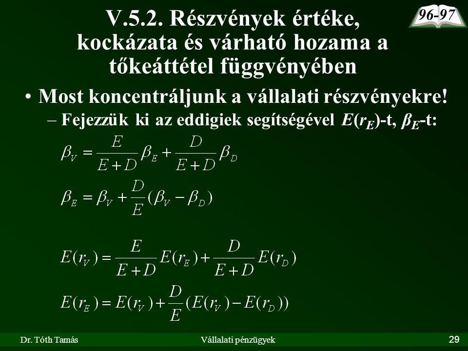 Dr. Tóth TamásVállalati pénzügyek29 V.5.2.