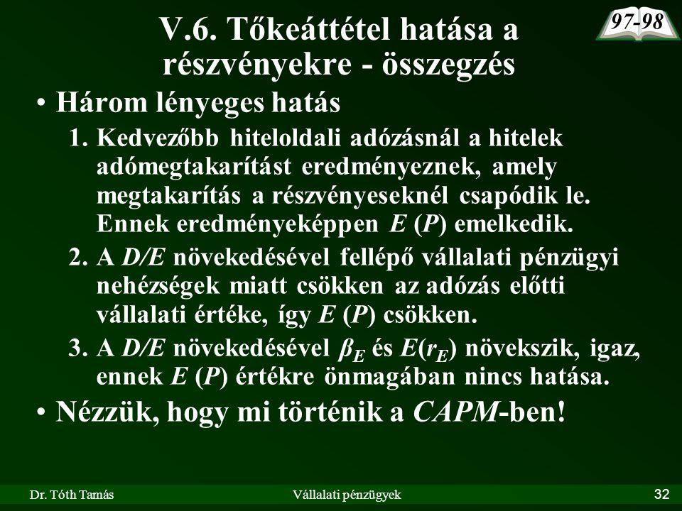 Dr. Tóth TamásVállalati pénzügyek32 V.6. Tőkeáttétel hatása a részvényekre - összegzés Három lényeges hatás 1.Kedvezőbb hiteloldali adózásnál a hitele