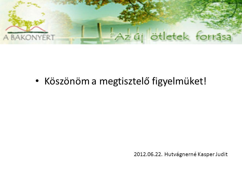 Köszönöm a megtisztelő figyelmüket! 2012.06.22. Hutvágnerné Kasper Judit
