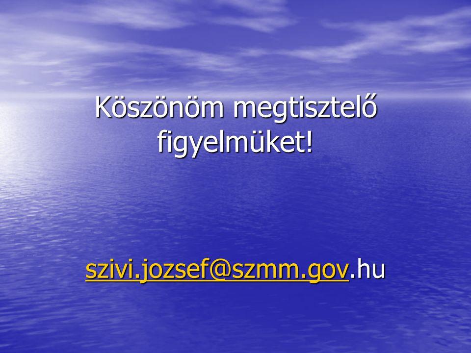 Köszönöm megtisztelő figyelmüket! szivi.jozsef@szmm.gov.hu szivi.jozsef@szmm.gov
