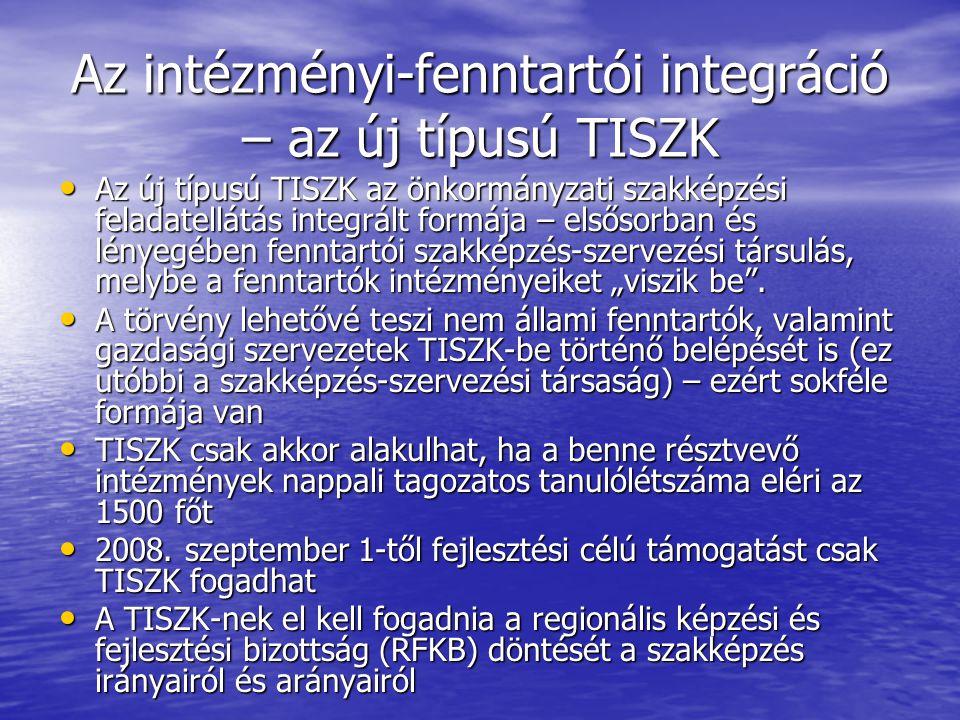 """Az intézményi-fenntartói integráció – az új típusú TISZK Az új típusú TISZK az önkormányzati szakképzési feladatellátás integrált formája – elsősorban és lényegében fenntartói szakképzés-szervezési társulás, melybe a fenntartók intézményeiket """"viszik be ."""