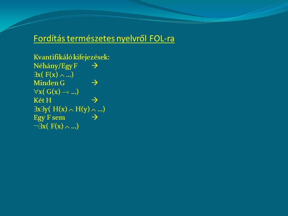 Fordítás természetes nyelvről FOL-ra Kvantifikáló kifejezések: Néhány/Egy F   x( F(x)  …) Minden G   x( G(x)  …) Két H   x  y( H(x)  H(y)  …) Egy F sem   x( F(x)  …)