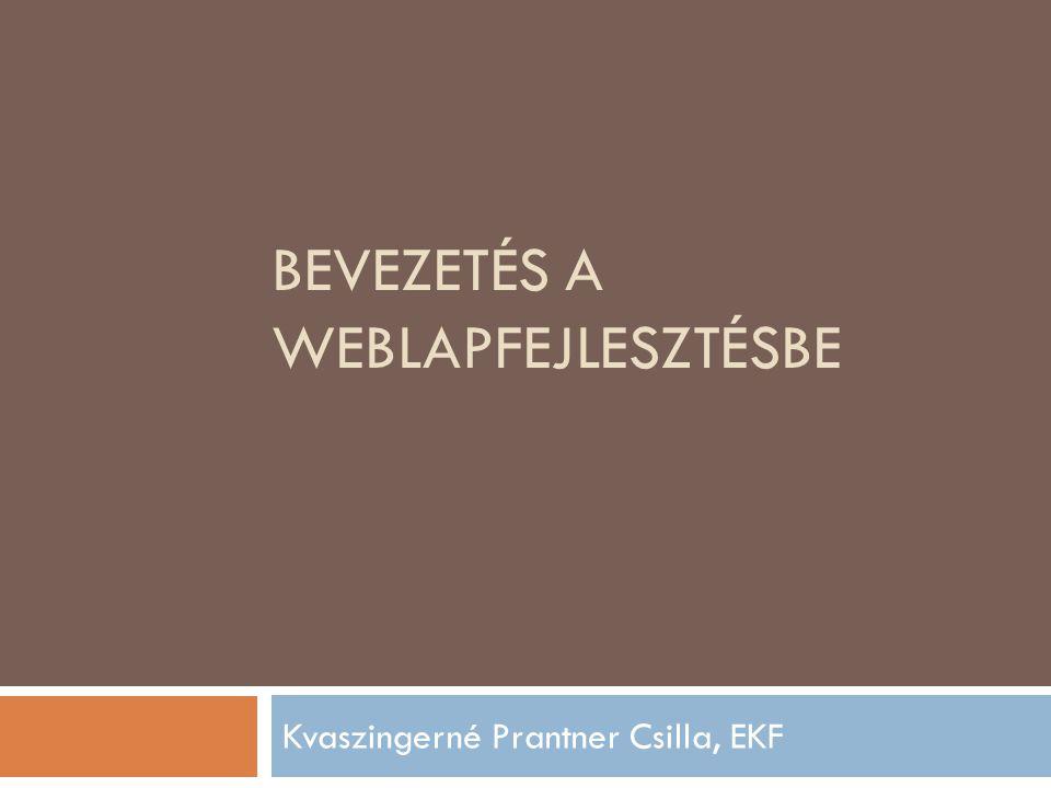BEVEZETÉS A WEBLAPFEJLESZTÉSBE Kvaszingerné Prantner Csilla, EKF