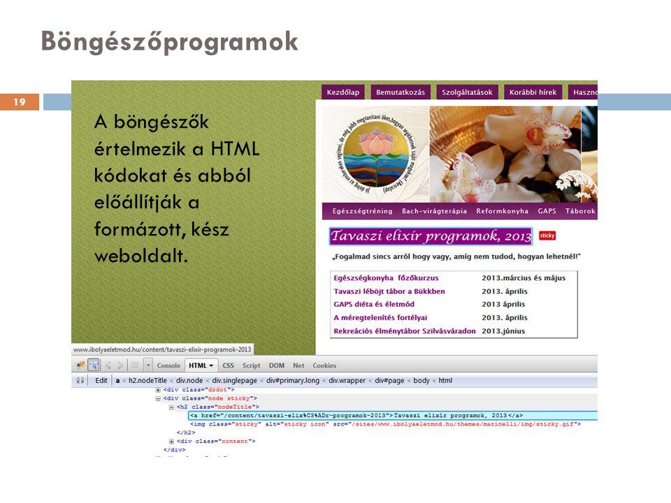 Böngészőprogramok A böngészők értelmezik a HTML kódokat és abból előállítják a formázott, kész weboldalt. 19