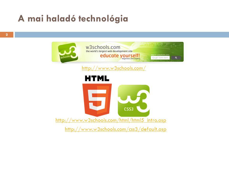 A mai haladó technológia http://www.w3schools.com/html/html5_intro.asp http://www.w3schools.com/css3/default.asp http://www.w3schools.com/ 2