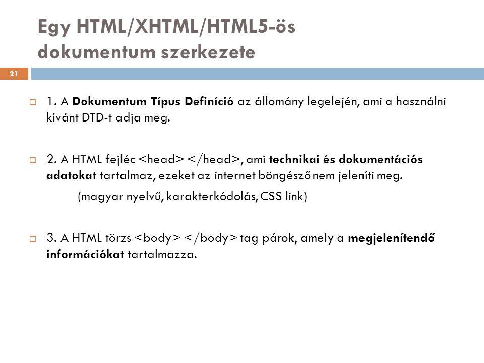 Egy HTML/XHTML/HTML5-ös dokumentum szerkezete  1. A Dokumentum Típus Definíció az állomány legelején, ami a használni kívánt DTD-t adja meg.  2. A H