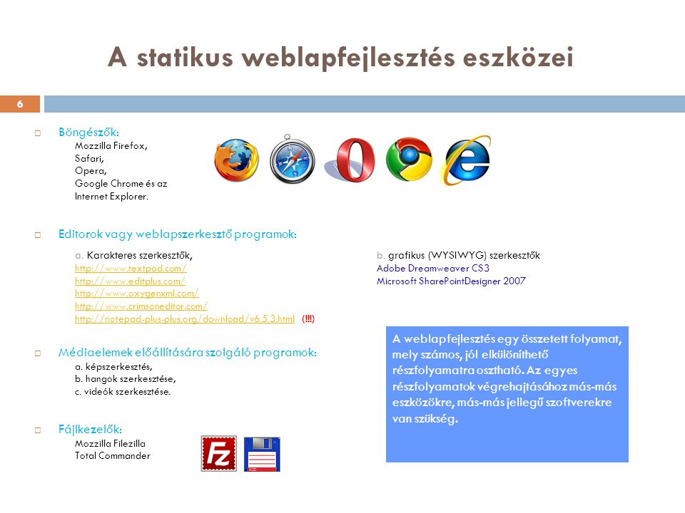 A statikus weblapfejlesztés eszközei  Böngészők: Mozzilla Firefox, Safari, Opera, Google Chrome és az Internet Explorer.  Editorok vagy weblapszerke