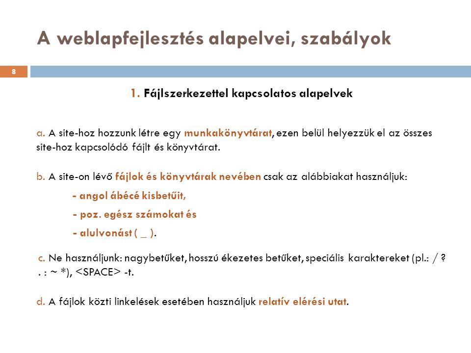 1. Fájlszerkezettel kapcsolatos alapelvek a. A site-hoz hozzunk létre egy munkakönyvtárat, ezen belül helyezzük el az összes site-hoz kapcsolódó fájlt