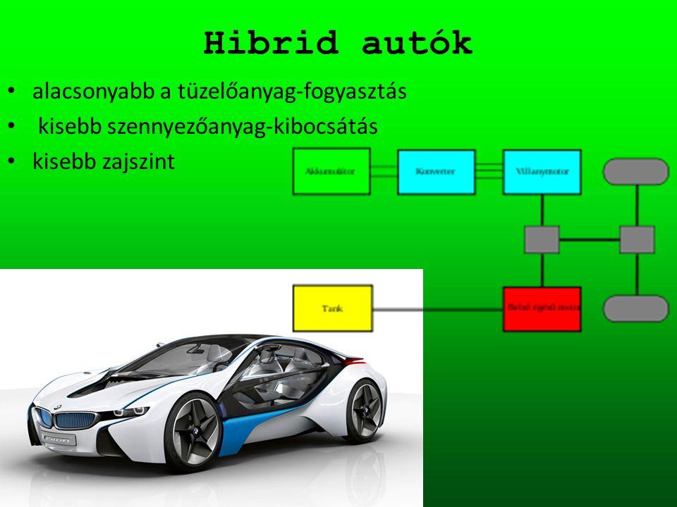Hibrid autók alacsonyabb a tüzelőanyag-fogyasztás kisebb szennyezőanyag-kibocsátás kisebb zajszint