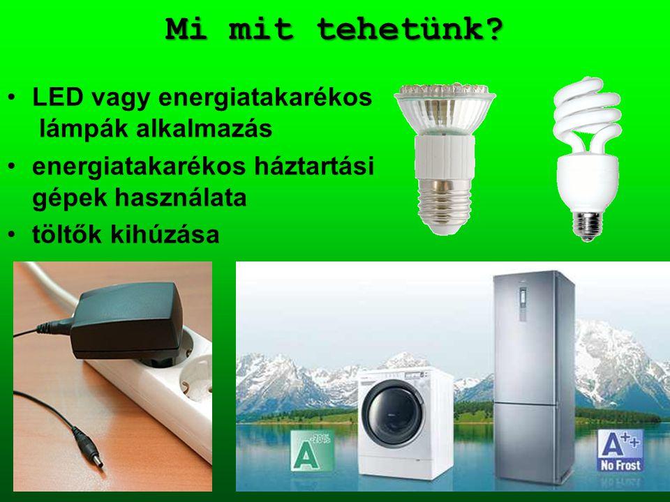 Mi mit tehetünk? LED vagy energiatakarékos lámpák alkalmazás energiatakarékos háztartási gépek használata töltők kihúzása