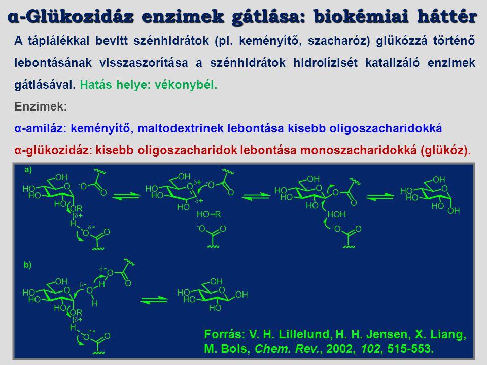 Patkány vékonybél α-glükozidáz (IC 50 [μM]) SzacharázMaltáz0.560.350.070.11 SzacharázMaltáz0.111.30.210.130.11.4 SzacharázMaltáz4.6240.00055-2.22.4 L.