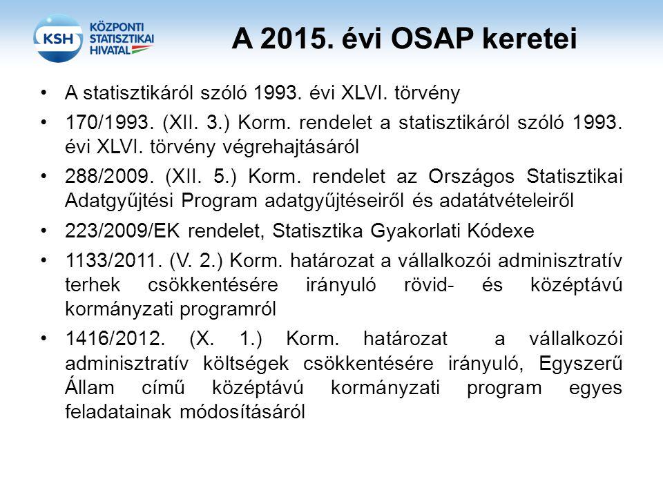 A 2015. évi OSAP keretei A statisztikáról szóló 1993. évi XLVI. törvény 170/1993. (XII. 3.) Korm. rendelet a statisztikáról szóló 1993. évi XLVI. törv