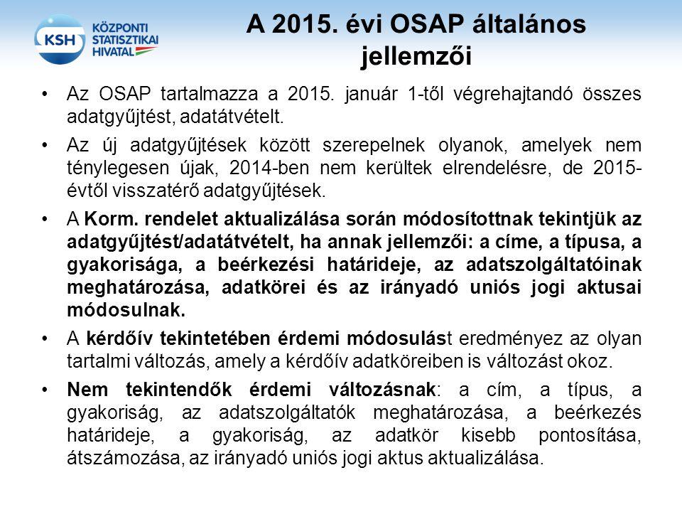 A 2015. évi OSAP általános jellemzői Az OSAP tartalmazza a 2015. január 1-től végrehajtandó összes adatgyűjtést, adatátvételt. Az új adatgyűjtések köz