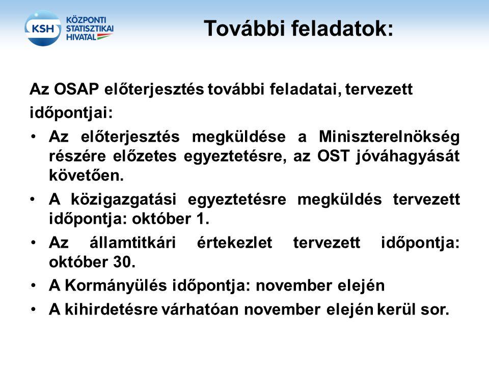 További feladatok: Az OSAP előterjesztés további feladatai, tervezett időpontjai: Az előterjesztés megküldése a Miniszterelnökség részére előzetes egy