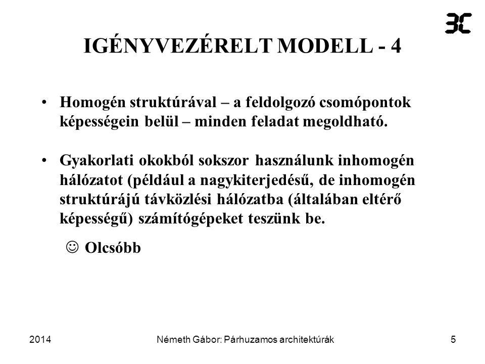 2014Németh Gábor: Párhuzamos architektúrák6 IGÉNYVEZÉRELT MODELL - 5  Statikus feladat-hozzárendelést valósít meg.
