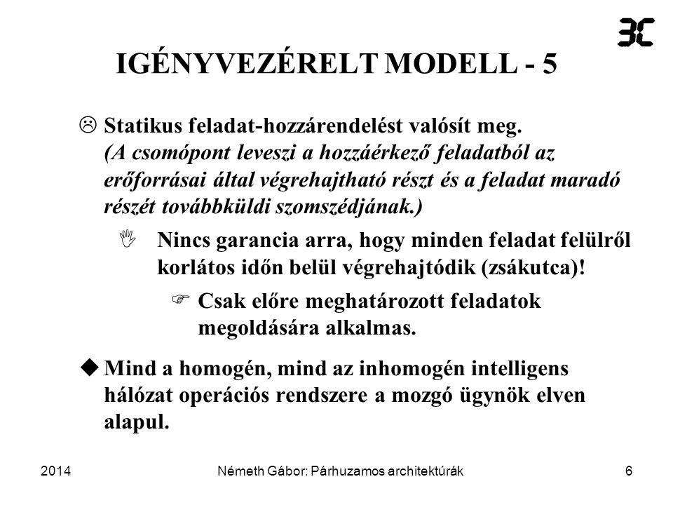 2014Németh Gábor: Párhuzamos architektúrák27 Mozgó ügynökök alkalmazásának előnyei és hátrányai - 5  Védettség –Kiszolgáló-kiszolgáló védelem (sok nyitott kérdés).