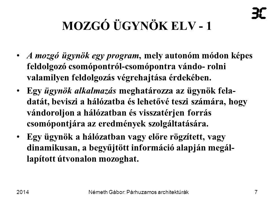 2014Németh Gábor: Párhuzamos architektúrák18 MOZGÓ ÜGYNÖK ELV - 12 ügyfél 1.