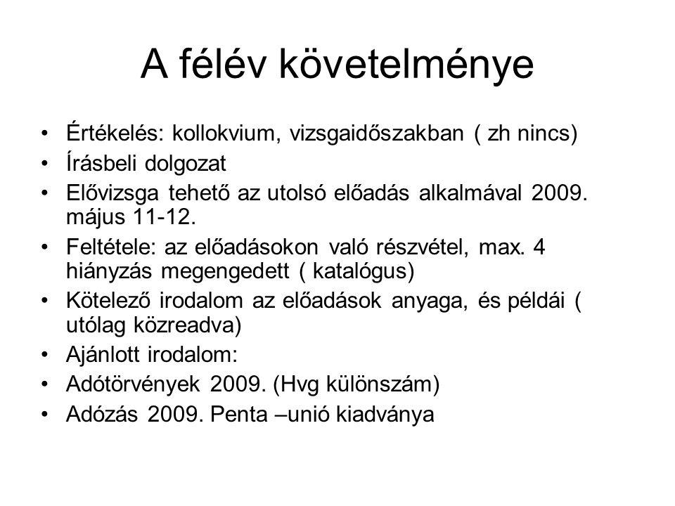 A félév követelménye Értékelés: kollokvium, vizsgaidőszakban ( zh nincs) Írásbeli dolgozat Elővizsga tehető az utolsó előadás alkalmával 2009. május 1