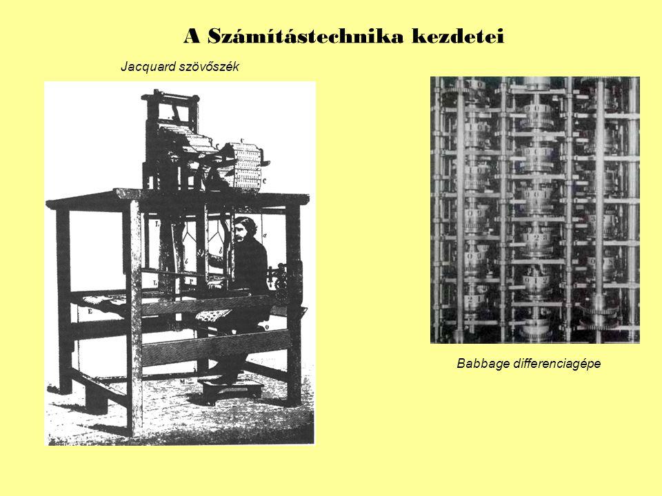 Jacquard szövőszék Babbage differenciagépe A Számítástechnika kezdetei