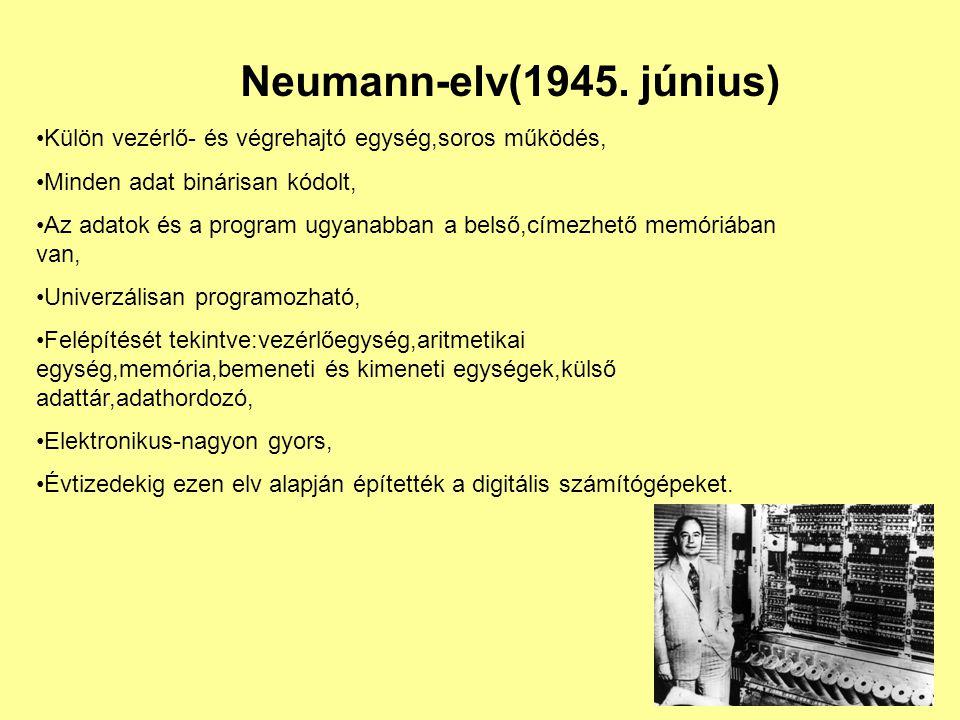 Neumann-elv(1945. június) Külön vezérlő- és végrehajtó egység,soros működés, Minden adat binárisan kódolt, Az adatok és a program ugyanabban a belső,c
