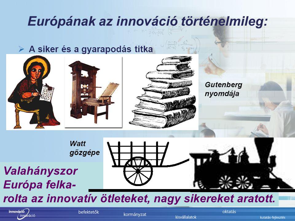 """Európának az innováció politikailag:  Mindenki prioritása: Európai Bizottság: -FP7 -CIP -Belső piaci """"review Európai Parlament: -G33 munkacsoport éves jelentése -INI/2006/2005: Jelentés a kutatásról és innovációról (ECON) -INI/2006/2044: Jelentés az innováció támagatásáról (ITRE) Európai Tanács: -Lisszaboni Stratégia 2000 -Innovációs Stratégia 2004 -Megújult Lisszaboni Stratégia 2005 Tagállamok: -Valamennyi nemzeti lisszaboni terv Az innováció Európa egyik mantrája"""