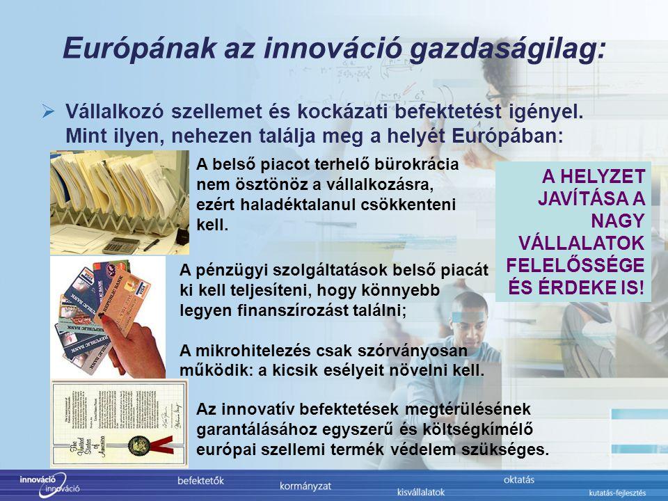 Európának az innováció gazdaságilag:  Vállalkozó szellemet és kockázati befektetést igényel.