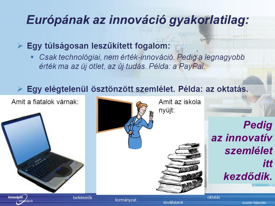 Európának az innováció gyakorlatilag:  Egy túlságosan leszűkített fogalom:  Csak technológiai, nem érték-innováció.