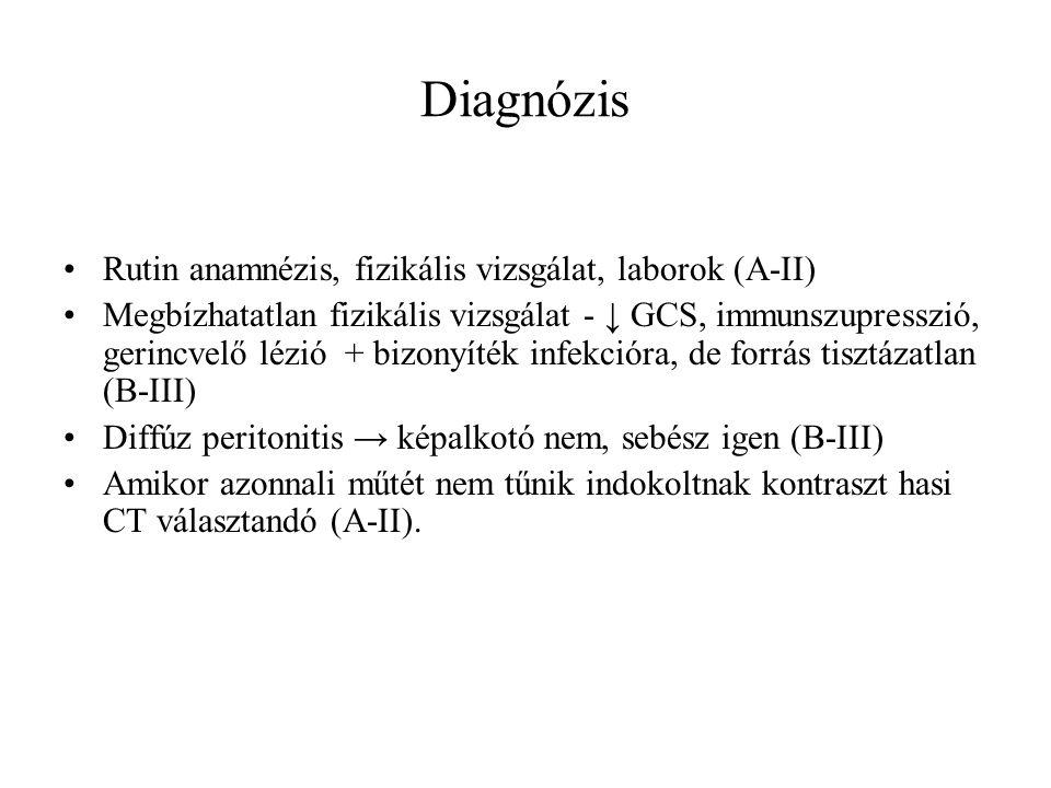 Diagnózis Rutin anamnézis, fizikális vizsgálat, laborok (A-II) Megbízhatatlan fizikális vizsgálat - ↓ GCS, immunszupresszió, gerincvelő lézió + bizonyíték infekcióra, de forrás tisztázatlan (B-III) Diffúz peritonitis → képalkotó nem, sebész igen (B-III) Amikor azonnali műtét nem tűnik indokoltnak kontraszt hasi CT választandó (A-II).