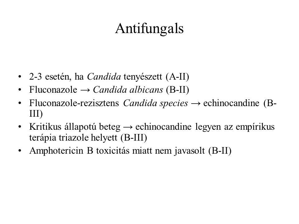 Antifungals 2-3 esetén, ha Candida tenyészett (A-II) Fluconazole → Candida albicans (B-II) Fluconazole-rezisztens Candida species → echinocandine (B- III) Kritikus állapotú beteg → echinocandine legyen az empírikus terápia triazole helyett (B-III) Amphotericin B toxicitás miatt nem javasolt (B-II)