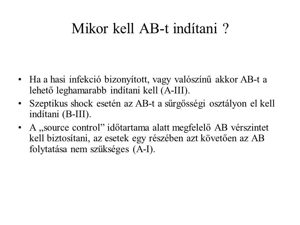 Mikor kell AB-t indítani ? Ha a hasi infekció bizonyított, vagy valószínű akkor AB-t a lehető leghamarabb indítani kell (A-III). Szeptikus shock eseté