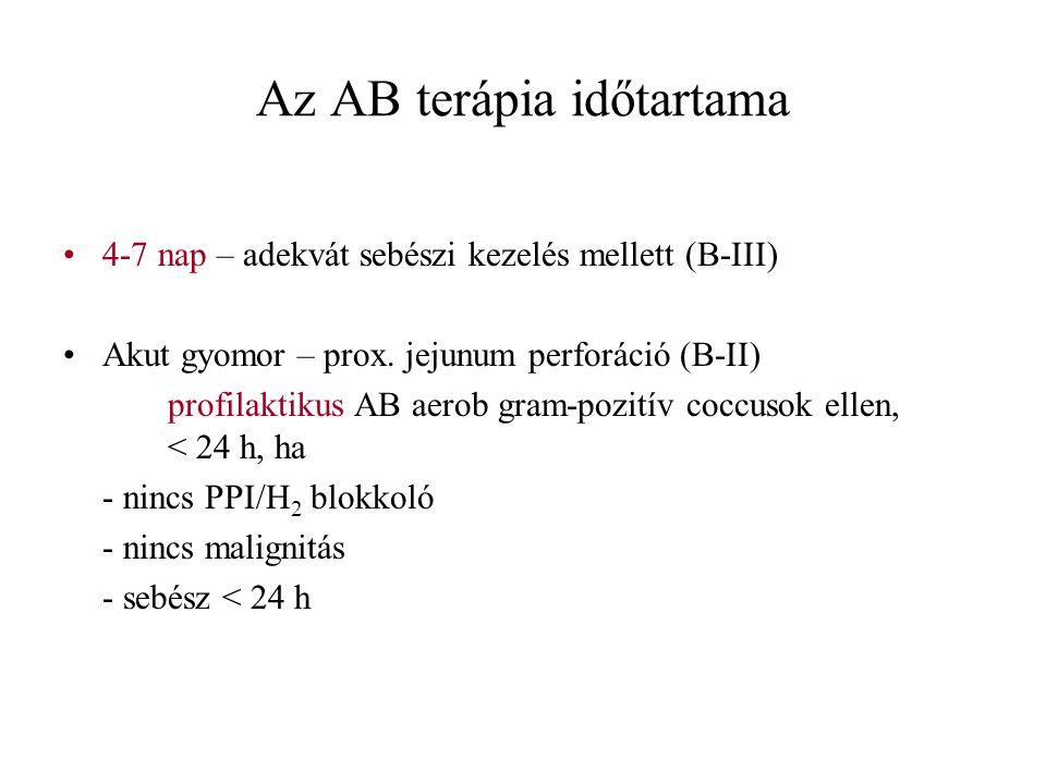 Az AB terápia időtartama 4-7 nap – adekvát sebészi kezelés mellett (B-III) Akut gyomor – prox. jejunum perforáció (B-II) profilaktikus AB aerob gram-p