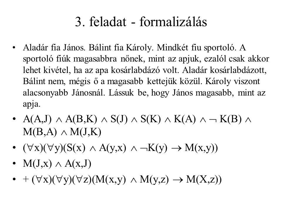3. feladat - formalizálás Aladár fia János. Bálint fia Károly.