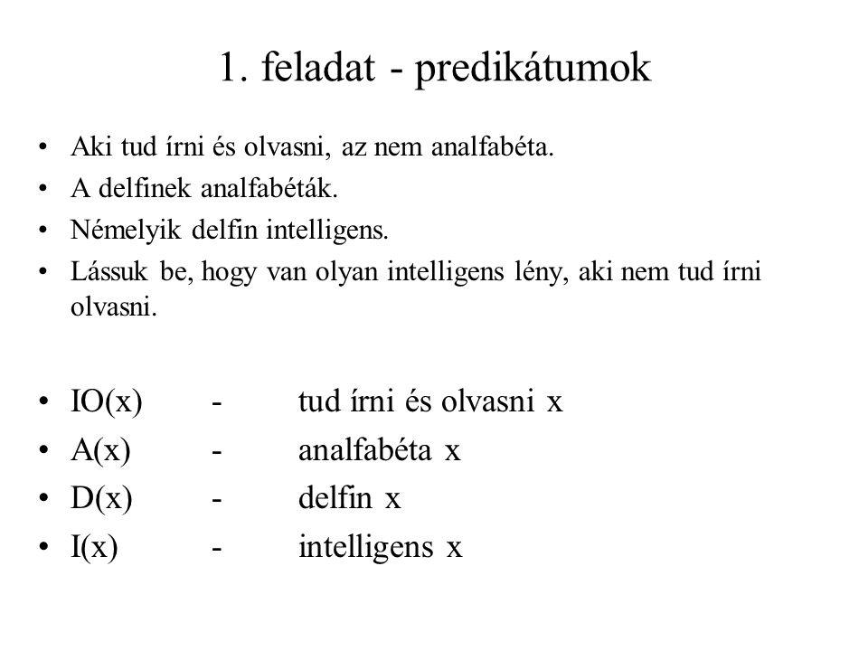 1. feladat - predikátumok Aki tud írni és olvasni, az nem analfabéta. A delfinek analfabéták. Némelyik delfin intelligens. Lássuk be, hogy van olyan i