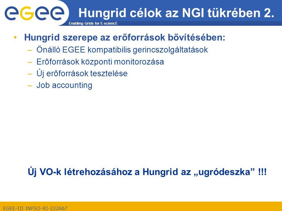 Enabling Grids for E-sciencE EGEE-III INFSO-RI-222667 Hungrid célok az NGI tükrében 2.