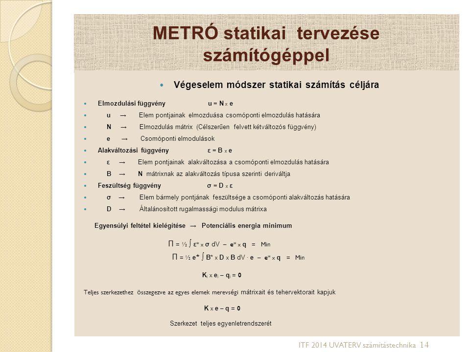 METRÓ statikai tervezése számítógéppel Végeselem módszer statikai számítás céljára Elmozdulási függvény u = N x e u → Elem pontjainak elmozduása csomó