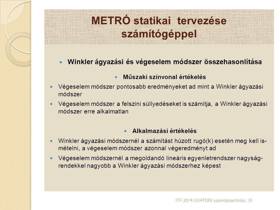 METRÓ statikai tervezése számítógéppel Winkler ágyazási és végeselem módszer összehasonlítása Műszaki szinvonal értékelés Végeselem módszer pontosabb