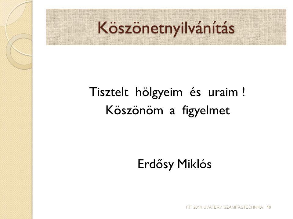 Köszönetnyilvánítás Tisztelt hölgyeim és uraim ! Köszönöm a figyelmet Erdősy Miklós ITF 2014 UVATERV SZÁMÍTÁSTECHNIKA 18