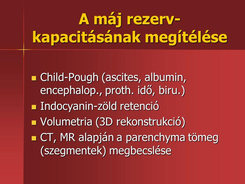 A máj rezerv- kapacitásának megítélése Child-Pough (ascites, albumin, encephalop., proth. idő, biru.) Child-Pough (ascites, albumin, encephalop., prot