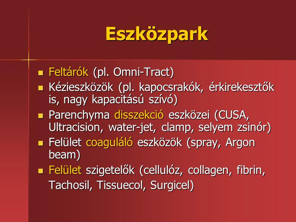 Eszközpark Feltárók (pl. Omni-Tract) Feltárók (pl. Omni-Tract) Kézieszközök (pl. kapocsrakók, érkirekesztők is, nagy kapacitású szívó) Kézieszközök (p
