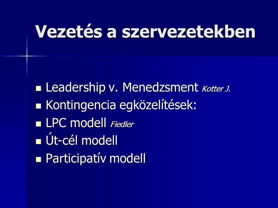 Vezetés a szervezetekben Leadership v.Menedzsment Kotter J.
