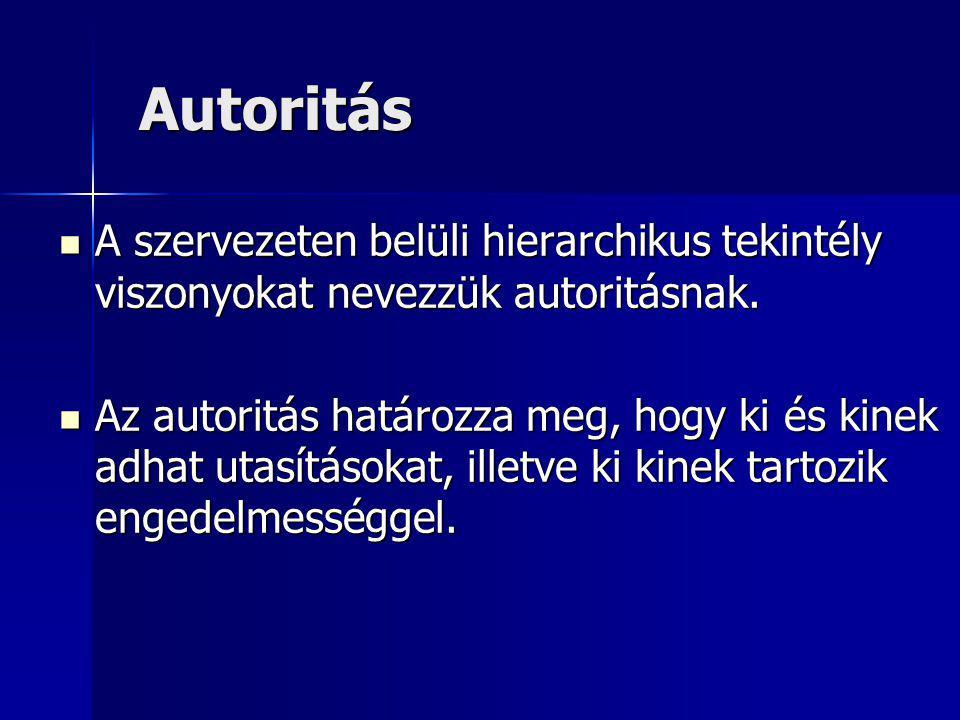 Autoritás Autoritás A szervezeten belüli hierarchikus tekintély viszonyokat nevezzük autoritásnak.