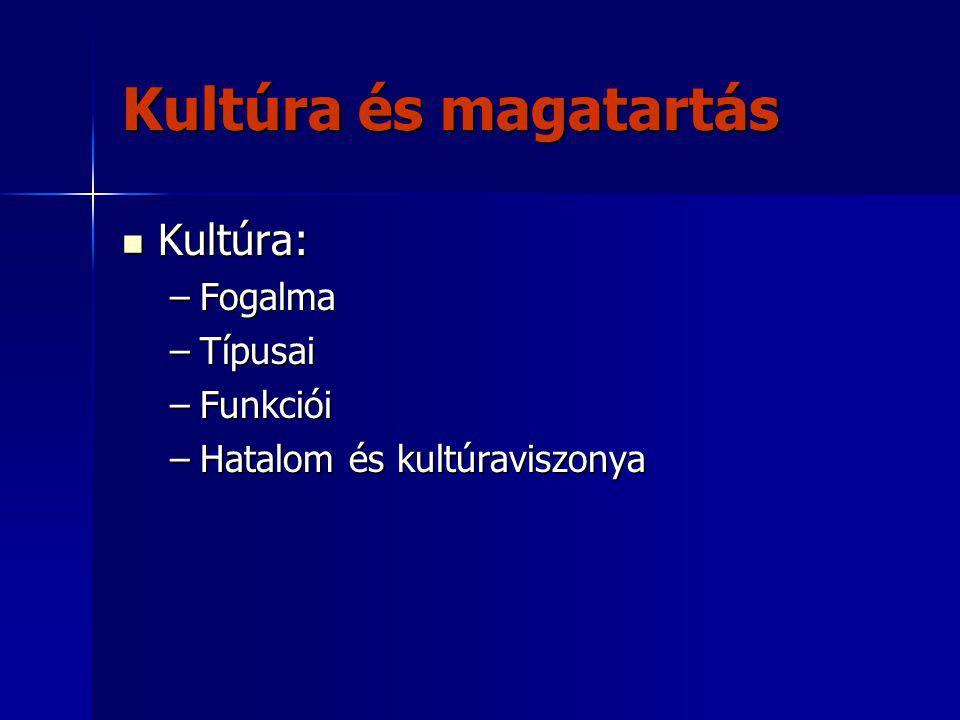 Kultúra és magatartás Kultúra: Kultúra: –Fogalma –Típusai –Funkciói –Hatalom és kultúraviszonya