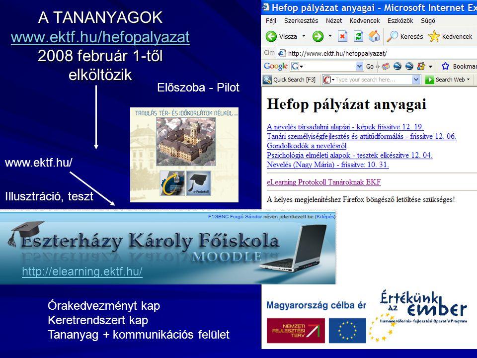 A TANANYAGOK www.ektf.hu/hefopalyazat 2008 február 1-től elköltözik www.ektf.hu/hefopalyazat Órakedvezményt kap Keretrendszert kap Tananyag + kommunik