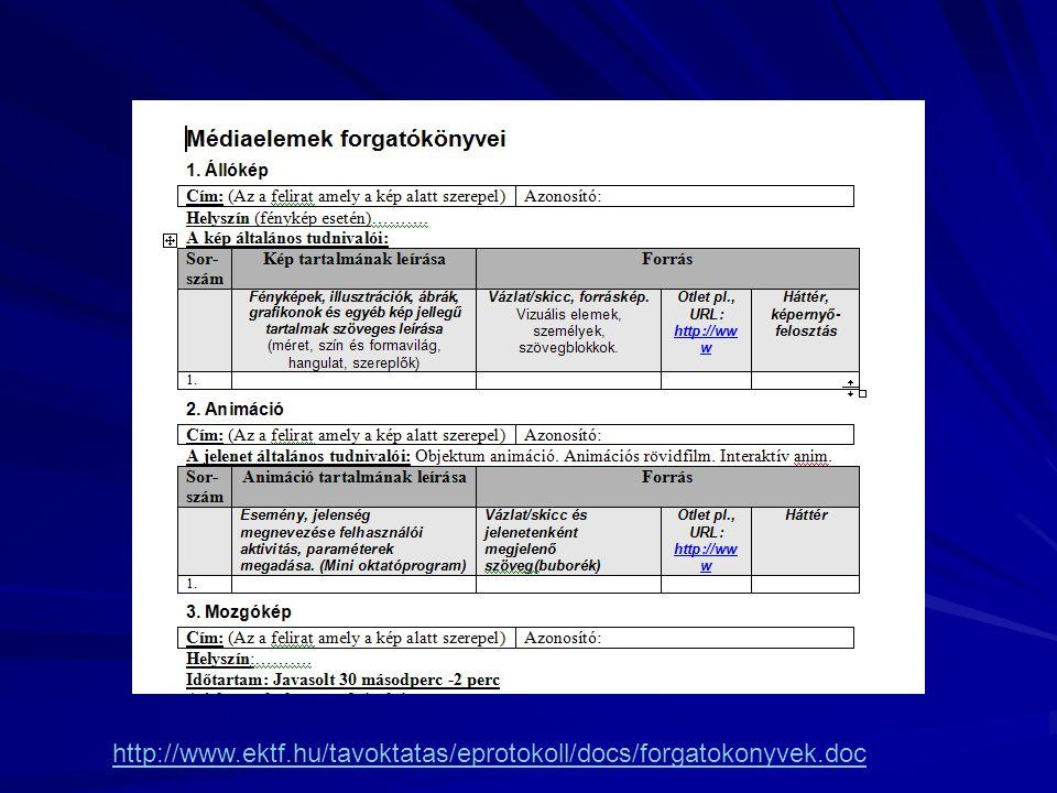 http://www.ektf.hu/tavoktatas/eprotokoll/docs/forgatokonyvek.doc