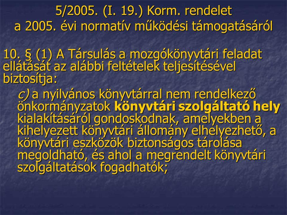 5/2005. (I. 19.) Korm. rendelet a 2005. évi normatív működési támogatásáról 10.