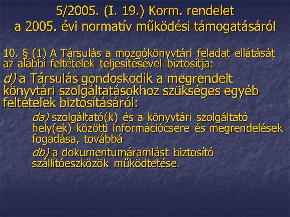 5/2005. (I. 19.) Korm. rendelet a 2005. évi normatív működési támogatásáról 10. § (1) A Társulás a mozgókönyvtári feladat ellátását az alábbi feltétel